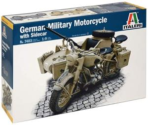 ITALERI - 1/9 GERMAN MILITARY MOTORCYCLE R75 WITH SIDECAR